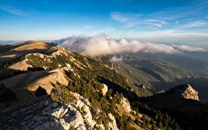 Hintergrundbilder Spanien Gebirge Wolke Von oben Catalonia Natur