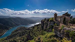 Bakgrunnsbilder Spania Fjell Elver Elv Skyer La Siurana, Catalonia