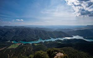 Hintergrundbilder Spanien Berg Flusse See Himmel Wolke Von oben Embalse de la Baells, Catalonia
