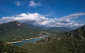 Fotos Spanien Gebirge Himmel Wolke Von oben Catalonia