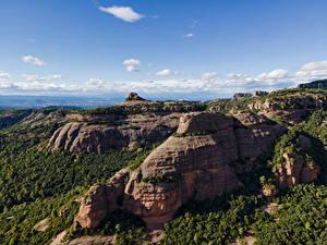 Desktop hintergrundbilder Spanien Berg Himmel Felsen Catalonia Natur