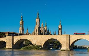 Bilder Spanien Flusse Brücken Kathedrale Zaragoza, river Ebro