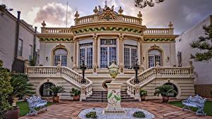 Bilder Spanien Villa Skulpturen Design Treppe Bank (Möbel) Straßenlaterne  Städte