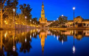 Hintergrundbilder Spanien Wasser Teich Nacht Türme Spiegelt  Städte