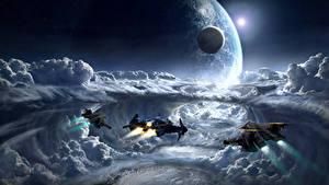 Bureaubladachtergronden Star Citizen Schip Planeten Wolken computerspel Ruimte Fantasy