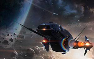 Wallpaper Star Citizen Ships Carrack vdeo game Space Fantasy