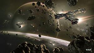 Hintergrundbilder Star Conflict Raumschiff Planeten Asteroiden Flug computerspiel Kosmos