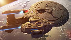 Bureaubladachtergronden Star Trek (film) Techniek Fantasy Schip Ruimteschip USS Enterprise (NCC-1701) Films Fantasy Ruimte