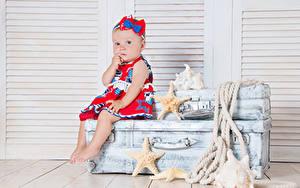 Hintergrundbilder Seesterne Koffer Kleine Mädchen Sitzend Blick Kinder