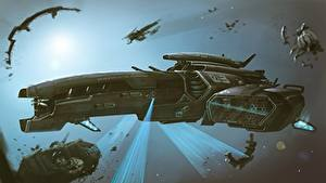 Bureaubladachtergronden Ruimteschip Schip by Dmitrii Ustinov, Exploratory spacecraft Coraggioso Fantasy Ruimte