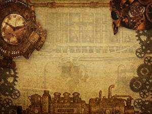 Wallpaper Steampunk Clock Gears Template greeting card