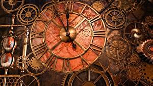 Bakgrundsbilder på skrivbordet Steampunk Klocka Urtavla Kugghjul