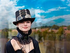 Hintergrundbilder Steampunk Der Hut Blick Cosplay junge frau