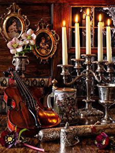 Bilder Stillleben Anemonen Kerzen Violine Bücher Blumen