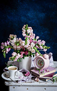Wallpaper Still-life Snapdragons Clock Coffee Vase Cup Book Spoon Saucer Flowers