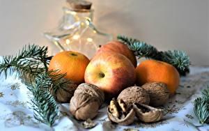 Hintergrundbilder Stillleben Äpfel Mandarine Schalenobst Neujahr Lebensmittel
