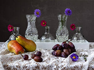 Images Still-life Asters Pears Grapes Vase Food Flowers