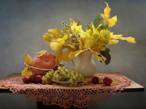 Pictures Still-life Autumn Pumpkin Grapes Apples Table Vase Foliage