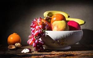 Hintergrundbilder Stillleben Bananen Äpfel Apfelsine Weintraube Obst Tropfen Schüssel