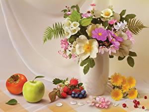 Bilder Stillleben Sträuße Äpfel Kanne Vase Blumen
