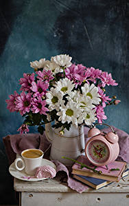 Pictures Still-life Bouquet Chrysanths Clock Coffee Pitcher Book Cup Food Flowers