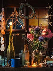 Bilder Stillleben Blumensträuße Malven Kerzen Muscheln Flasche Becher Blumen