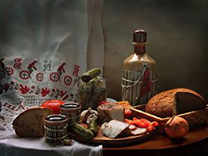Fotos Stillleben Brot Gurke Zwiebel Wein Tomate Flasche Salo - Lebensmittel