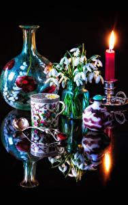 Fotos Stillleben Kerzen Schneeglöckchen Schwarzer Hintergrund Tasse Löffel Blumen