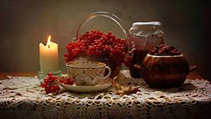 Fotos Stillleben Kerzen Tee Eberesche Konfitüre Tasse Einweckglas Tisch Lebensmittel