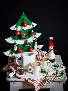 Picture Still-life New year Coffee Pitcher Cup Spruce Snowmen Balls Black background