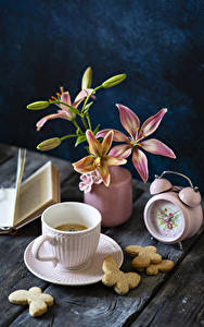 Picture Still-life Clock Lilies Coffee Cookies Wood planks Vase Cup Flower-bud Food Flowers