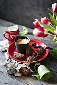 Hintergrundbilder Stillleben Kekse Kaffee Cappuccino Tulpen Bretter Trinkglas das Essen