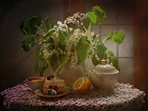 Wallpaper Still-life Flowering trees Cakes Lemons Tea Vase Branches Piece Cup Food Flowers