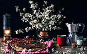 Fotos Stillleben Blühende Bäume Kerzen Flötenkessel Backware Vase Ast Becher das Essen