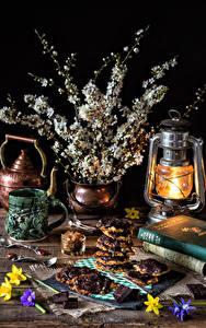Fotos Stillleben Blühende Bäume Petroleumlampe Kekse Ast Tasse Lebensmittel