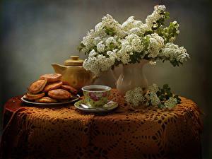 Hintergrundbilder Stillleben Blühende Bäume Backware Tee Vase Tasse Ast Tisch Lebensmittel