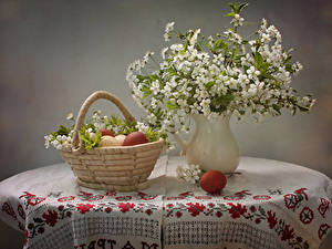 Picture Still-life Flowering trees Vase Wicker basket Branches Eggs Table Flowers