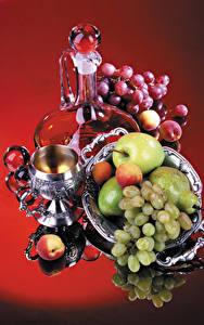 Hintergrundbilder Stillleben Weintraube Äpfel Birnen Marille Kanne Weinglas