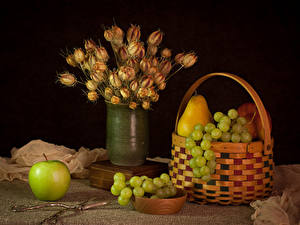 Pictures Still-life Grapes Apples Pears Bouquets Wicker basket Vase