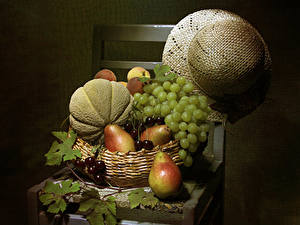 Wallpaper Still-life Grapes Pears Melons Cherry Gray background Chairs Hat Wicker basket Foliage Food