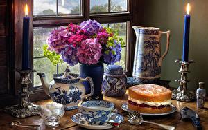 Bilder Stillleben Hortensien Torte Kerzen Vase Tasse Zucker Lebensmittel Blumen