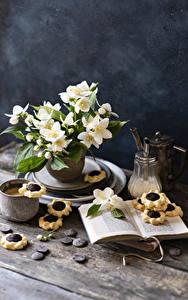 Fotos Stillleben Jasminum Kekse Kaffee Cappuccino Schokolade Buch Becher Blüte Lebensmittel