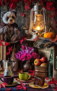 Hintergrundbilder Stillleben Petroleumlampe Teddy Astern Äpfel Kaffee Kürbisse Tasse