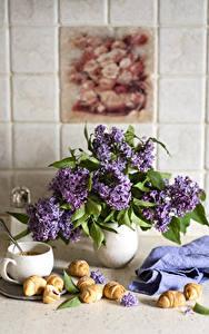 Fotos Stillleben Flieder Croissant Vase Tasse Blumen Lebensmittel