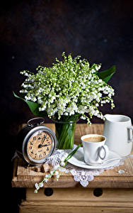 Wallpaper Still-life Lilies of the valley Clock Coffee Black background Cup Pitcher flower