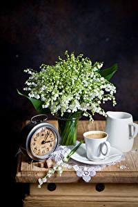 Bilder Stillleben Maiglöckchen Uhr Kaffee Schwarzer Hintergrund Tasse Kannen Blüte