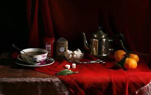 Fotos Stillleben Mandarine Pfeifkessel Tasse Zucker