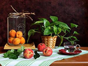 Bilder Stillleben Pfirsiche Aprikose Weckglas Tasse Ast Lebensmittel