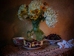Wallpaper Still-life Pie Cherry Hydrangea Gazania Cup Piece Food Flowers