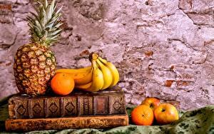 Hintergrundbilder Stillleben Ananas Bananen Orange Frucht Äpfel Bücher
